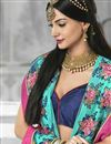photo of Cyan Color Designer Georgette Fabric Saree With Banglori Silk Blouse