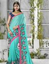 image of Cyan Color Designer Georgette Fabric Saree With Banglori Silk Blouse