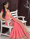 photo of Georgette Fabric Designer Saree In Pink Color With Blouse