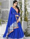 photo of Blue Color Designer Chiffon And Georgette Fabric Saree With Banglori Silk Blouse