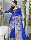 image of Blue Color Designer Chiffon And Georgette Fabric Saree With Banglori Silk Blouse
