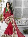 photo of Maroon Color Designer Chiffon And Georgette Fabric Saree With Embroidery