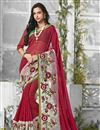 image of Maroon Color Designer Saree In Chiffon And Georgette Fabric With Embroidery
