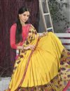 photo of Yellow Color Embroidered Designer Saree In Chiffon And Georgette Fabric