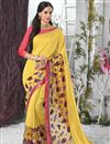 image of Yellow Color Embroidered Designer Saree In Chiffon And Georgette Fabric