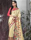 image of Cream Color Embroidered Designer Saree In Chiffon And Georgette Fabric