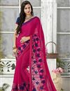 image of Pink Color Embroidered Designer Saree In Chiffon And Georgette Fabric