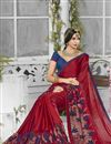 photo of Chiffon And Georgette Fabric Designer Saree In Red Color With Banglori Silk Blouse