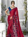 image of Chiffon And Georgette Fabric Designer Saree In Red Color With Banglori Silk Blouse