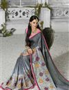 photo of Grey Color Designer Georgette Fabric Saree With Banglori Silk Blouse