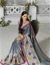 photo of Grey Color Designer Georgette Fabric Saree With Banglori Silk Blouse
