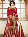 photo of Festive Wear Designer Red Color Salwar Kameez With Embroidery In Georgette Fabric
