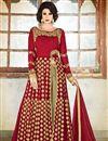 photo of Red Color Designer Georgette Embroidered Long Salwar Kameez