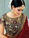 photo of Maroon Color Fancy Fabric Designer Party Wear Saree With Embroidered Border Work