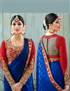 photo of Fancy Fabric Party Wear Blue Color Saree With Unstitched Designer Blouse