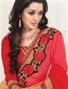 photo of Georgette Fabric Red And Beige Color Charming Designer Saree With Unstitched Blouse