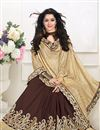 photo of Elegant Beige And Brown Color Georgette Designer Saree With Unstitched Blouse