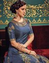 photo of Art Silk Designer Anarkali Salwar Suit In Navy Blue With Embroidery Work