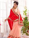photo of Peach-Red Festive Wear Embroidered Georgette Saree
