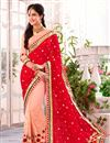 image of Peach-Red Festive Wear Embroidered Georgette Saree