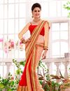 image of Beige-Red Net-Georgette Embroidered Designer Saree