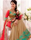 photo of Beige-Red Embroidered Designer Georgette-Lycra Sar