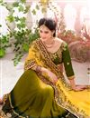 photo of Green-Yellow Designer Embroidered Silk-Viscose Sar
