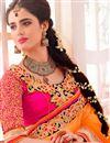 photo of Beige-Orange Designer Embroidered Lycra-Net Saree