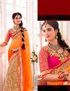 image of Beige-Orange Lycra-Net Festive Wear Half-Half Sare