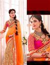 image of Beige-Orange Designer Embroidered Lycra-Net Saree
