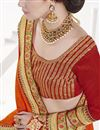 photo of Designer Orange Color Wedding Wear Embroidered Chinon Fabric Saree
