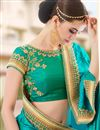 photo of Intriguing Silk Jacquard Fabric Party Wear Designer Cyan Color Saree With Embroidery Work