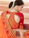 picture of Intriguing Silk Fabric Party Wear Designer Orange Color Saree With Embroidery Work