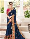 image of Designer Wedding Function Wear Amazing Navy Blue Color Fancy Fabric Embroidered Saree With Lace Border