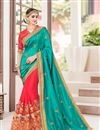 image of Designer Function Wear Cyan And Pink Color Fancy Fabric Embroidered Saree With Lace Border