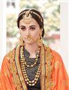 photo of Designer Function Wear Orange And Navy Blue Color Fancy Fabric Embroidered Saree With Lace Border