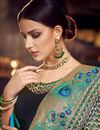 photo of Sangeet Wear Designer Cyan Embroidered Saree In Fancy Fabric