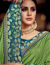 photo of Sangeet Wear Designer Fancy Fabric Embroidered Saree In Green