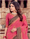 photo of Embroidery Work On Viscose Fabric Pink Color Party Wear Saree With Designer Blouse