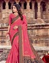 image of Embroidery Work On Viscose Fabric Pink Color Party Wear Saree With Designer Blouse