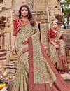 image of Embroidery Work On Chikoo Color Viscose Fabric Designer Saree With Party Wear Blouse