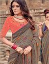photo of Dark Beige Color Viscose Fabric Function Wear Saree With Embroidery Designs And Gorgeous Blouse