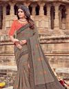 image of Dark Beige Color Viscose Fabric Function Wear Saree With Embroidery Designs And Gorgeous Blouse