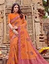 image of Viscose Fabric Orange Color Occasion Wear Saree With Embroidery Work And Attractive Blouse