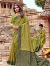 image of Green Color Viscose Fabric Fancy Embroidery Designs Party Wear Saree