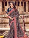 image of Fancy Viscose Fabric Embroidery Work Sangeet Wear Navy Blue Color Saree