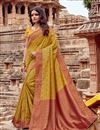 image of Fancy Embroidery Work Mustard Color Wedding Wear Saree In Viscose Fabric