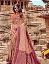 image of Viscose Fabric Designer Embroidered Saree In Chikoo Color With Attractive Blouse