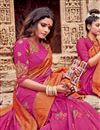 photo of Viscose Fabric Rani Color Festive Saree With Embroidery Work And Gorgeous Blouse