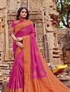 image of Viscose Fabric Rani Color Festive Saree With Embroidery Work And Gorgeous Blouse